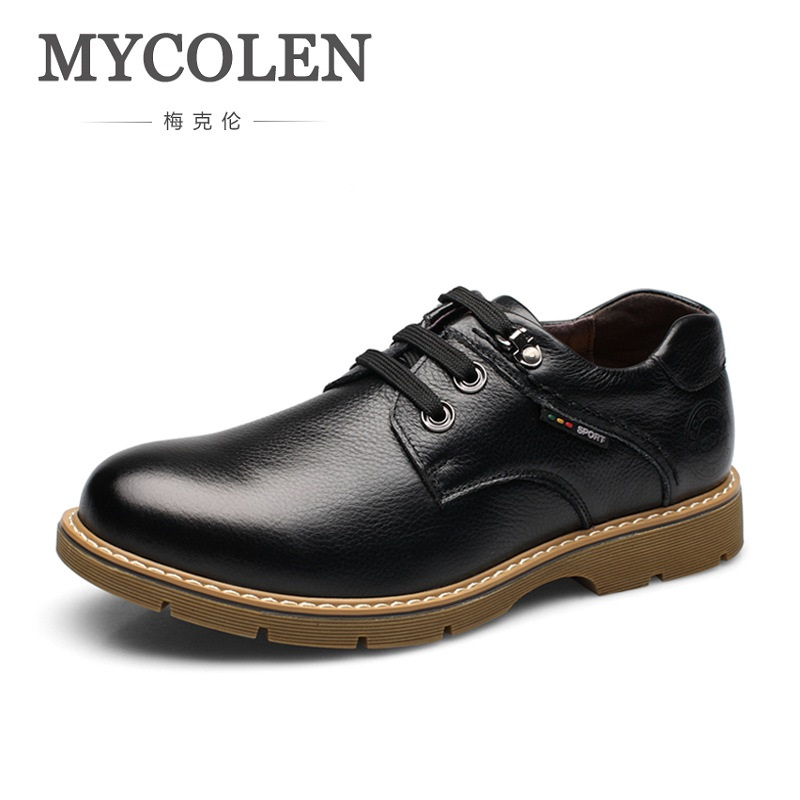 MYCOLEN 2018 New Luxury Men Dress Shoes Retro Leather Derby Shoes Lace Up Round Toe Business Wedding Mens Shoes Herren Schuhe 2017 men shoes fashion genuine leather oxfords shoes men s flats lace up men dress shoes spring autumn hombre wedding sapatos