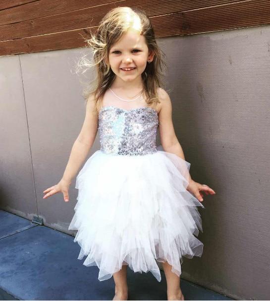 Elegante Mädchen silber pailletten prinzessin tutu kleid ...