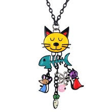 Bonsny Cat Necklace Pendant Long Chain French Enamel Alloy Fish Charm Fashion Brand Jewelry For Women Girl 2017 New Cute Animal