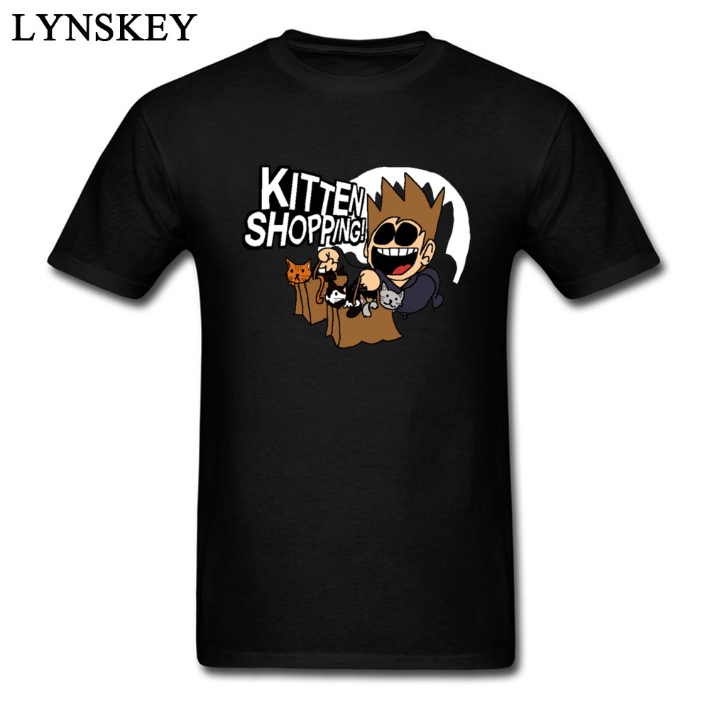 High Quality Cartoon Marvel Comic Tshirt Eddsworld Kitten Shopping Funny Humor T-Shirt Pocket Cat Mens T Shirt