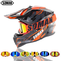 ECE Approval SOMAN SM633 Motocross Helmet With Dirt Bike Goggles Motorcycle Cycling Helmets Professional Moto Bike Casco