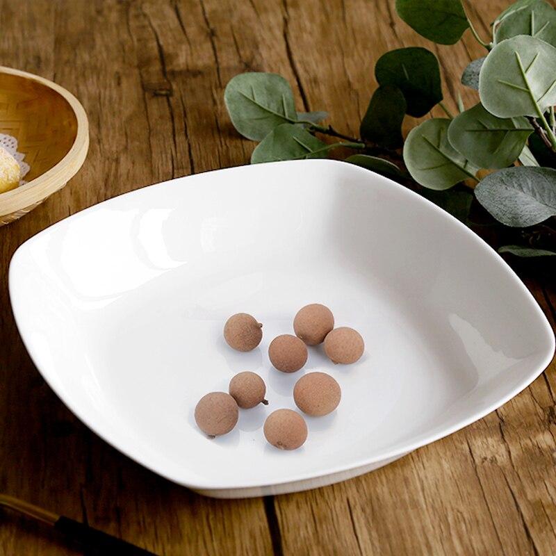 Assiette à soupe carrée porcelaine blanc pur   Os sans plomb, assiette à poisson, assiette à soupe, assiette occidentale, vaisselle d'hôtel, maison créative