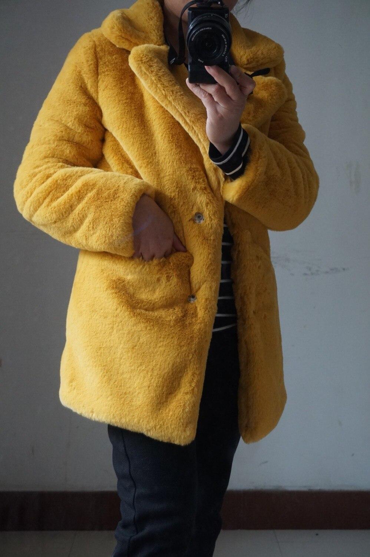 Rabattu Faux Femme Manteau Automne Lapin Hiver Pour Fourrure Manches Col Jaune Bureau Blazers Blazer Longues À Gingembre Veste Ewq8g