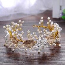 Dote de Oro me Deja Perlas Tiara De La Boda Nupcial de la Vendimia Pelo de La Venda de Accesorios Hechos A Mano de Las Mujeres Casco