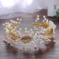 Gold Leaves Pearl Wedding Tiara Vintage Bridal Headband Hair Jewelry Handmade Accessories Women Headpiece