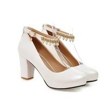 2017 Chunky High Heeled Pink Bridal Wedding Shoes Beaded White Female Buckle Elegant Pumps White Gold
