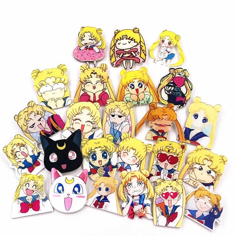 1 PCS การ์ตูน Sailor Moon สาวน่ารักทหารเข็มกลัด Pins บนเสื้อผ้าอะคริลิคป้ายกระเป๋าเป้สะพายหลังเสื้อผ้าป้ายของขวัญเด็กเครื่องประดับ
