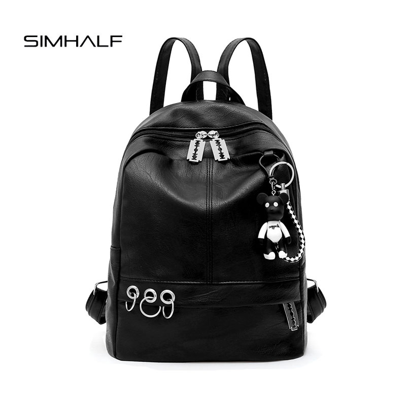 SIMHALF 2017 New Korean version Women package High quality PU leather backpack for teenage Girls Leisure