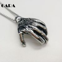 CARA New Muscle Hand Necklace Vintage Silver Color 316L Stainless Steel Hand Pendant Necklace Men Punk