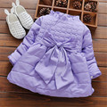 2016 Hot selling Winter Baby Girls fashion style bowknot Thick Warm Hooded Cotton Coats Snow Wear