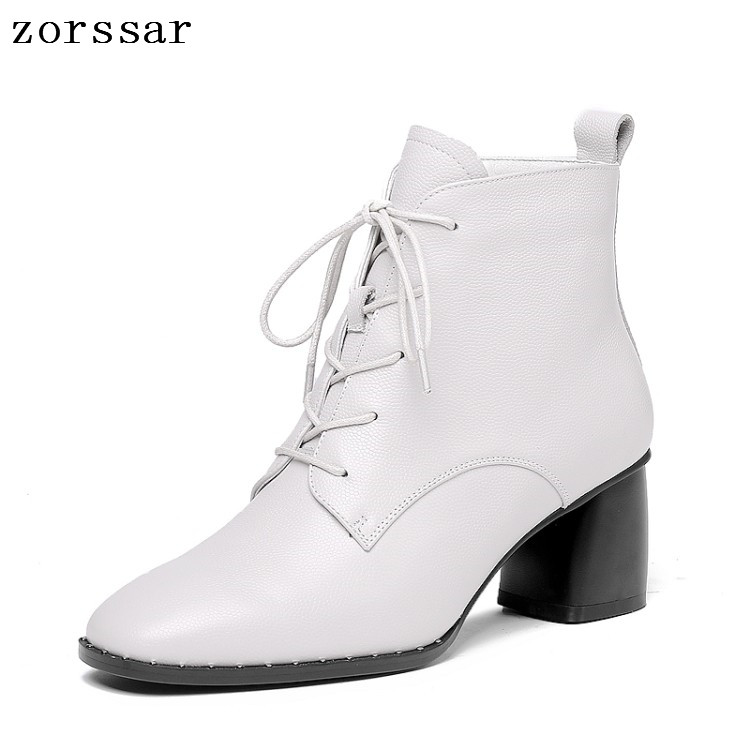 все цены на {Zorssar} 2019 Women winter shoes Ankle Boots Genuine Leather Lace up Square High heel Short Boots Women Booties Big Size 34-42 онлайн