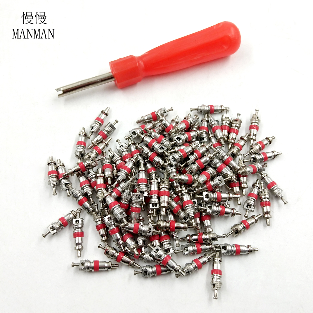 100Pcs Car Truck Zinc Alloy Tire Tyre Valve Stem Core Part Replacement Tyre Zinc Alloy Valve Stem Core Part  Valve Core Wrench