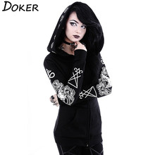 5XL Gothic Punk Print Hoodies Sweatshirts Women Long Sleeve Black Jacket Zipper Coat Autumn Winter Female Casual Hooded Tops(China)