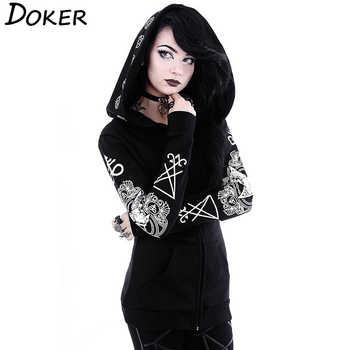 5XL Gothic Punk Print Hoodies Sweatshirts Women Long Sleeve Black Jacket Zipper Coat Autumn Winter Female Casual Hooded Tops - DISCOUNT ITEM  45% OFF All Category