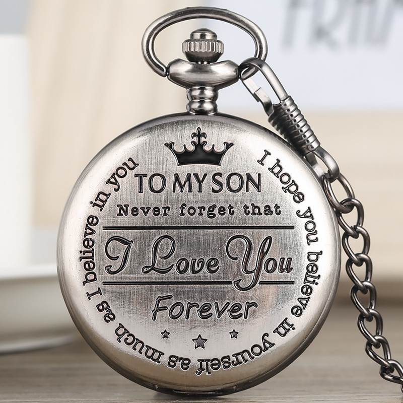 To My Son I LOVE YOU Quartz Pocket Watch Retro Gray Cover Engraved Greeting Words Souvenir Birthday Gifts For Son Art Collection