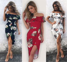 New Fashion Women Floral Dress Short Sleeve Sexy Off Shoulder Boho Dress Ladies Grace Dress 2017 New Arrival(China)