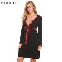 Ekouaer 여성 잠옷 드레스 새틴 트리밍 V 넥 Nighties 잠옷 긴 소매 홈 의류 잠옷 Homewear 의류