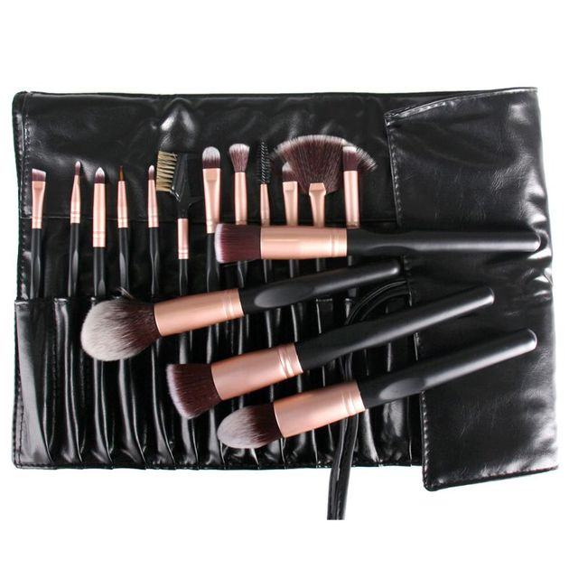 16Pcs Synthetic Fiber Makeup Brush Set Non-Skid Concave Wood Handle Foundation Powder Liquid Cream Cosmetic Tools With Case Bag