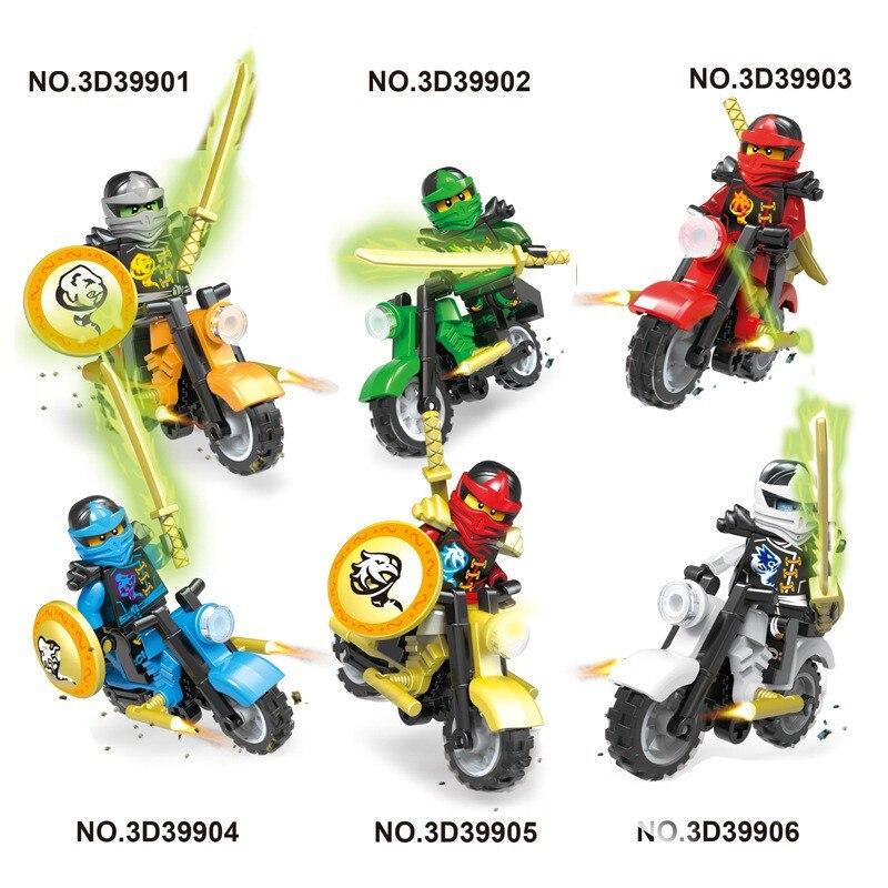 6 pcs/ensemble Vente Chaude Ninja Série KAI LLOYD JAY Figurine avec Moto Blocs de Construction LegoINGlys Jouets Pour Enfants Garçons Cadeau