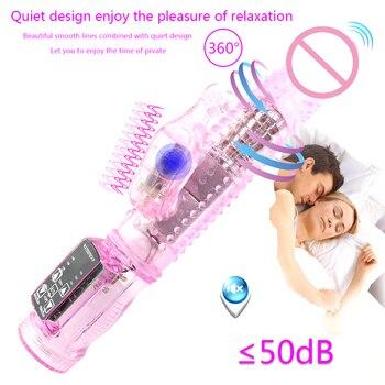 Rabbit Vibrator,Realistic Dildo Penis Vibrator Clitoris Stimulat Massager Transparent Rotating Beads Female Sex Toys For Women 6