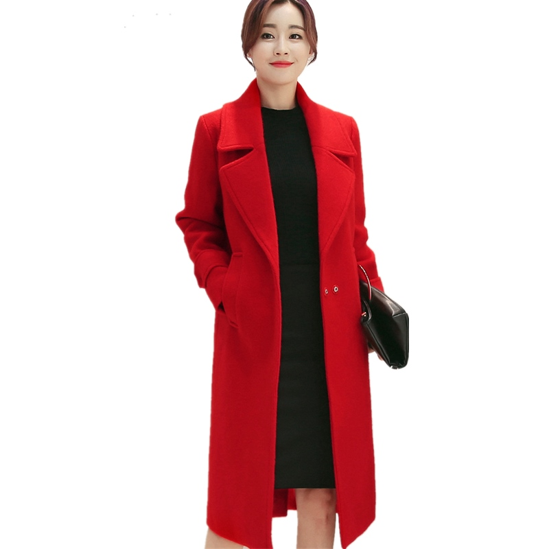 Women's woolen <font><b>coat</b></font> red Turn-down Collar Slim Large size thickening 2019 image