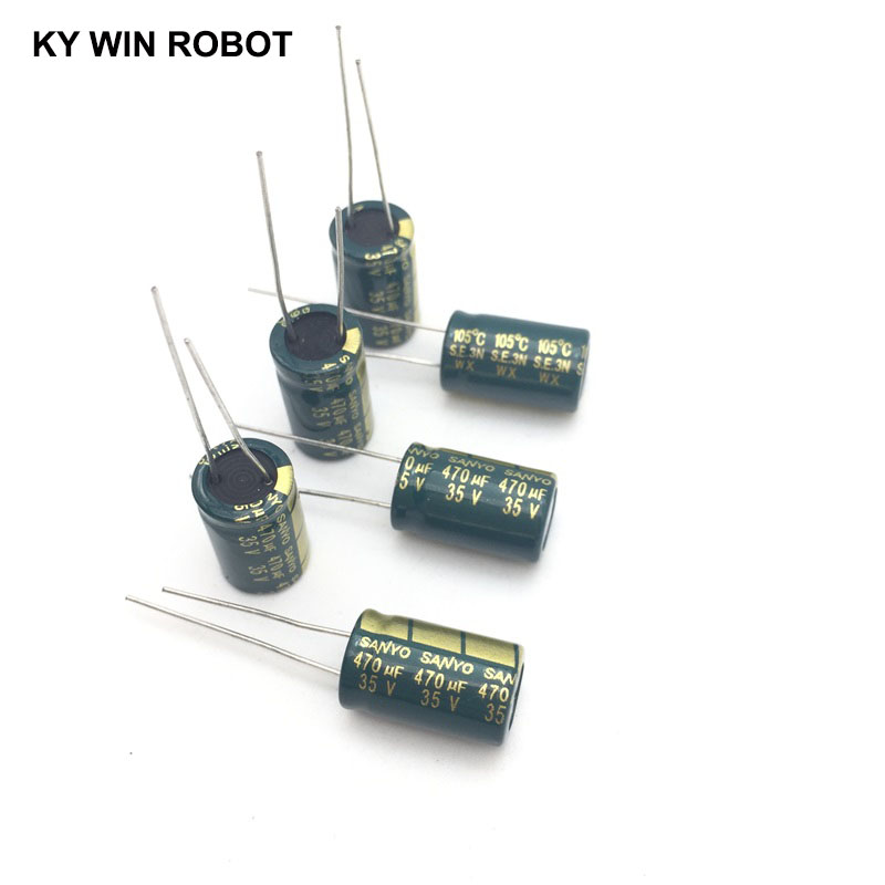10pcs Electrolytic Capacitors 470UF 35V 10x16mm 105C Radial High-frequency Low Resistance Electrolytic Capacitor