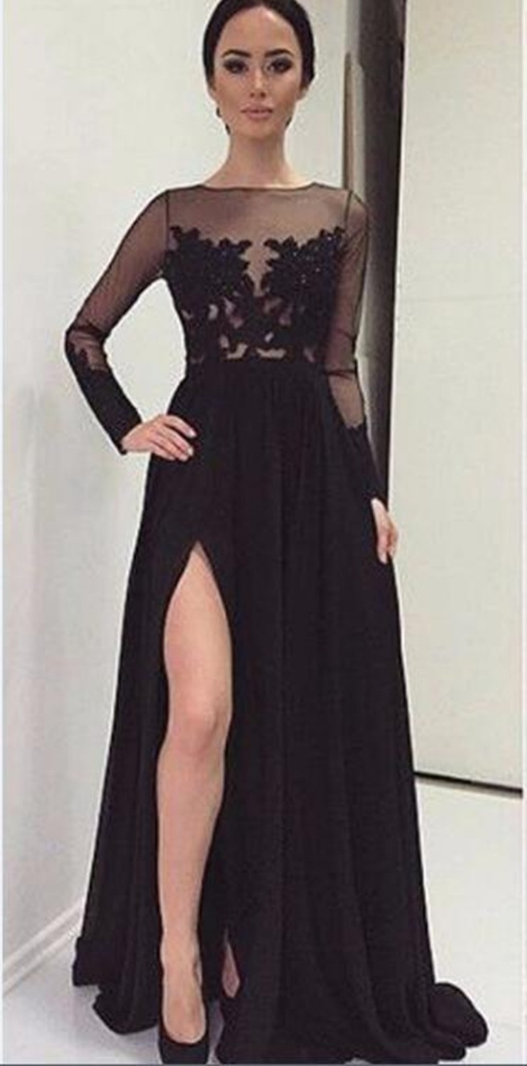 2016 Long Black Evening Dress Sexy Long Sleeve