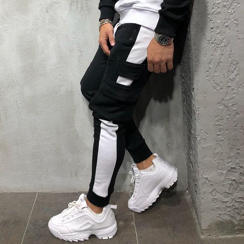 2018 Casual Tasche Sport Arbeit Männer Reine Farbe Tasche Overalls Casual Hosen Hosen Mode-design Männer Kleidung Der Jogger Hosen