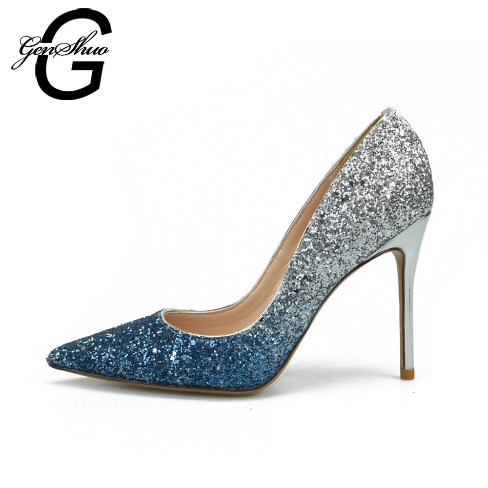 GENSHUO Sexy Women Pumps Bling High Heels Shoes Women Stilettos Glitter Wedding Party Shoes Silver Gold Big Small Size 32-46 new 2018 women pumps party bling high heels gold silver fashion glitter heels women shoes sexy wedding shoes
