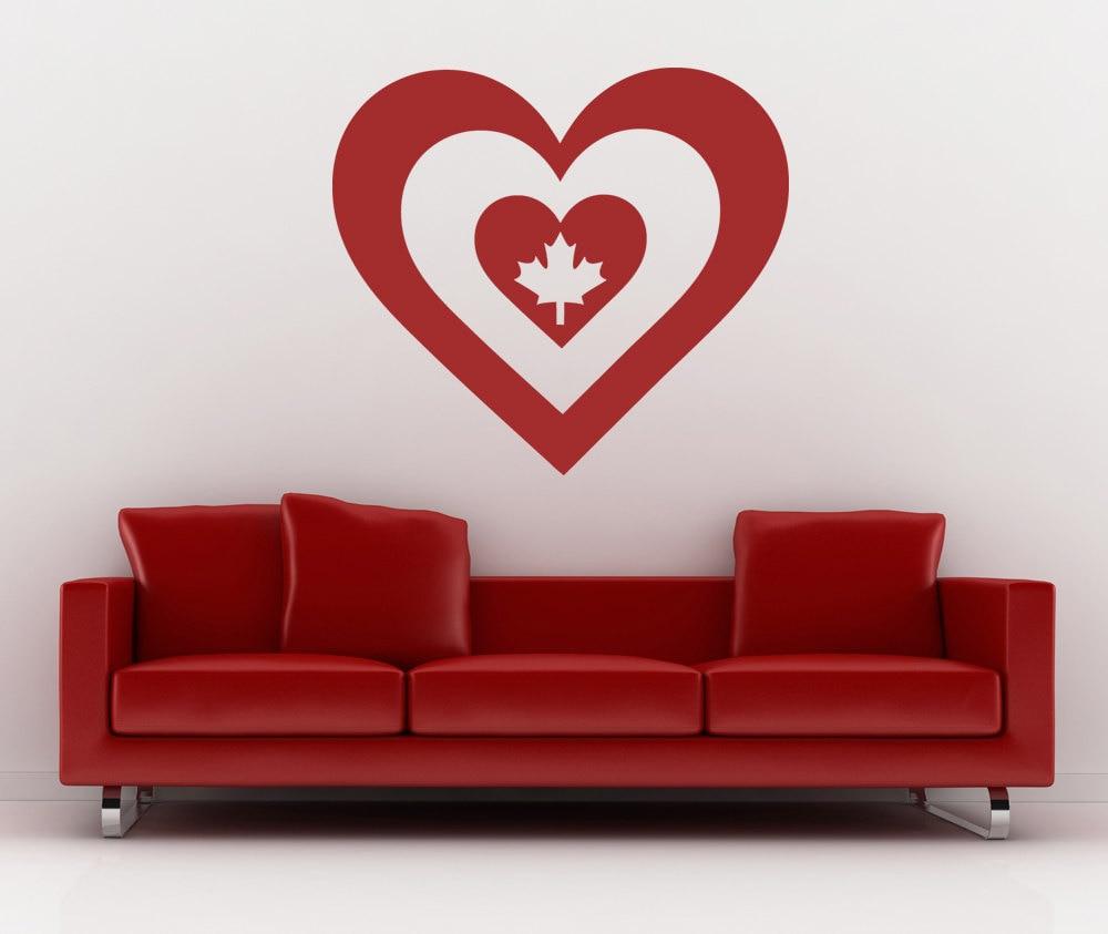 Canada Maple Leaf Wall Decal Heart Shape Canadian Flag