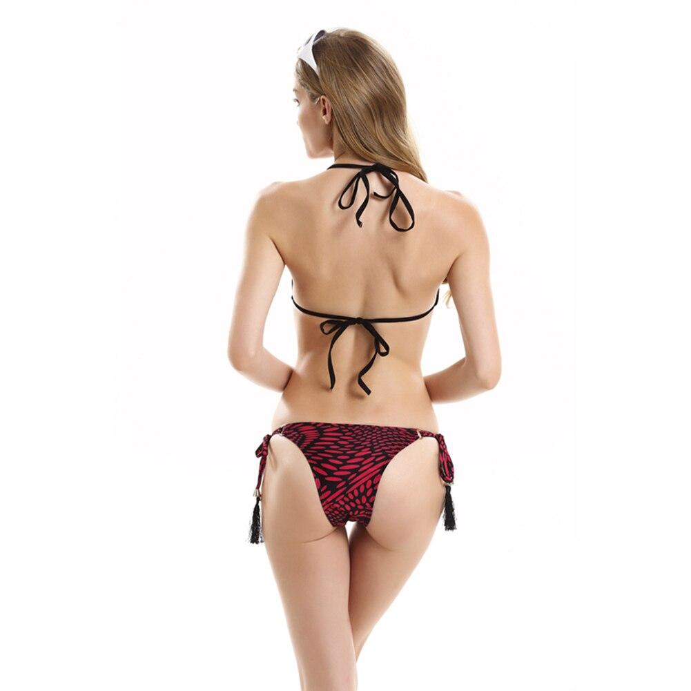Summer Ripple Print Halter Bandage Tassel Bikini Set Women Swimsuit Swimwear