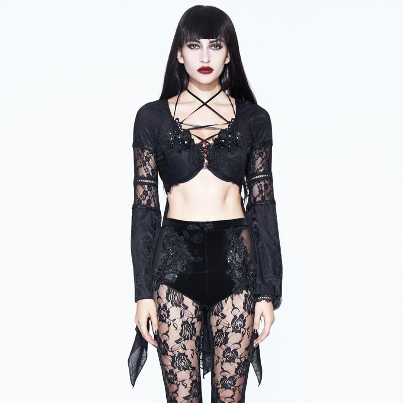 Camisa Blusa Transparente Negro Punk De Tops Manga Encaje Sexy Vendaje Verano La Mujeres BTp7q0W