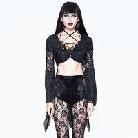 Punk Women's Bandage Sexy Tops Transparent Sexy Lace Shirt Flare Sleeve Black Summer Shirt Blouse