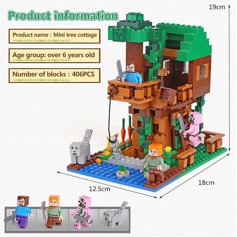 LEPIN 18009 Classic Tree House My world Figures Building Blocks Bricks Kids Educational Toys Children birthday Gift lepin 18010 my world 1106pcs compatible building block my village bricks diy enlighten brinquedos birthday gift toys kids 21128