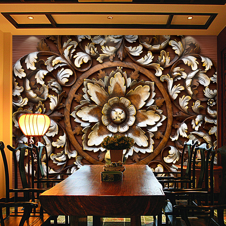 Free Shipping 3D Stereo Pattern Woodcarving Mural Wallpaper Living Room Entrance Hotel Restaurant Cafe Lounge Ceiling