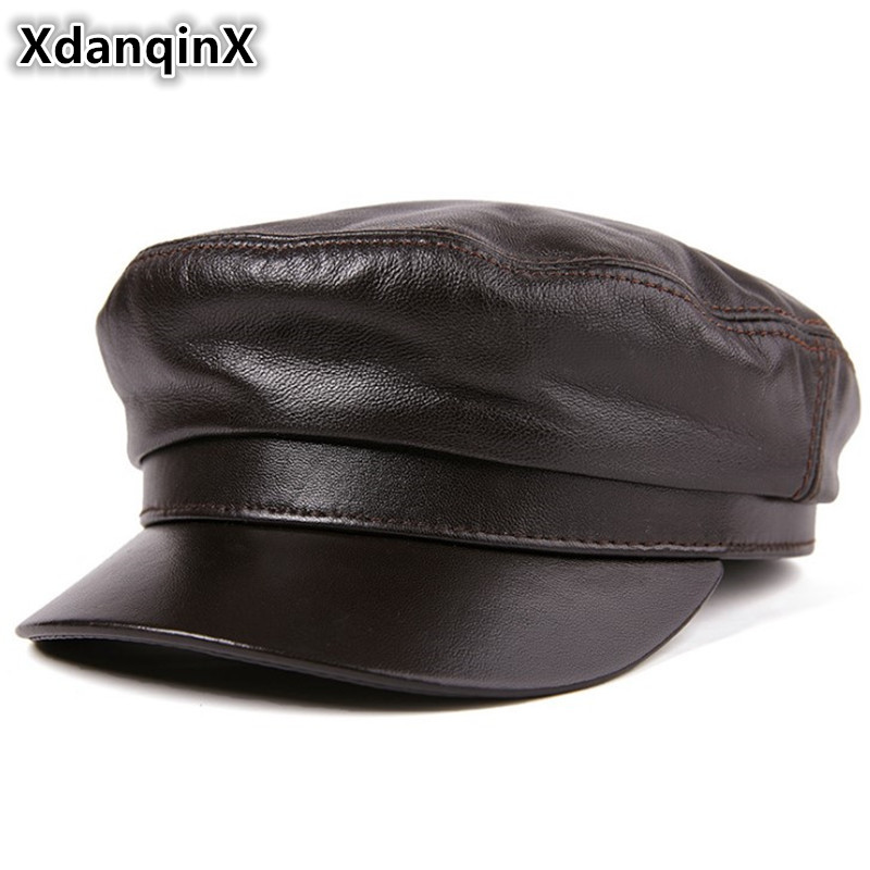 6c9d2d0eacf1 Detail Feedback Questions about XdanqinX Genuine Leather Hat High Quality  Flat Cap For Men Women Sheepskin Army Military Hats Autumn Winter Leather  Brands ...