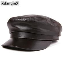 XdanqinX Genuine Leather Hat High Quality Flat Cap For Men Women Sheepskin Army Military Hats Autumn Winter Leather Brands Caps xdanqinx autumn winter women s hat 100