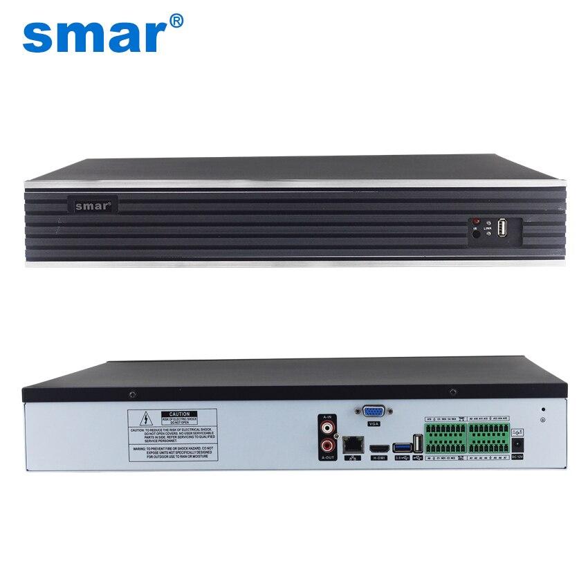 Smar New 32CH 4MP 24CH 5MP H.265 CCTV NVR ONVIF Network Video Recorder Hi3536 Main Processor Max 4K Display Quality 4 SATA Port wavelets processor