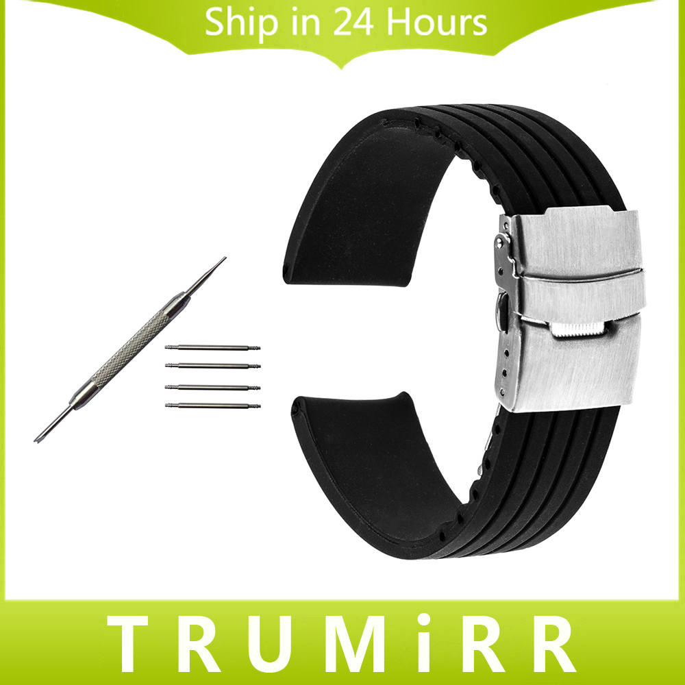 Silicone Rubber Watch Band for Ulysse Nardin Classic Marine Diver Stainless Steel Safety Buckle Strap Wrist Belt 18mm 20mm 22mm silicone rubber watch band 15mm 16mm 17mm 18mm 19mm 20mm 21mm 22mm for mido stainless steel pin buckle strap wrist belt bracelet