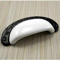 96mm copo moderno preto branco simples móveis alças armário dresser alças gaveta puxa botões pretos de cerâmica branca 3.75