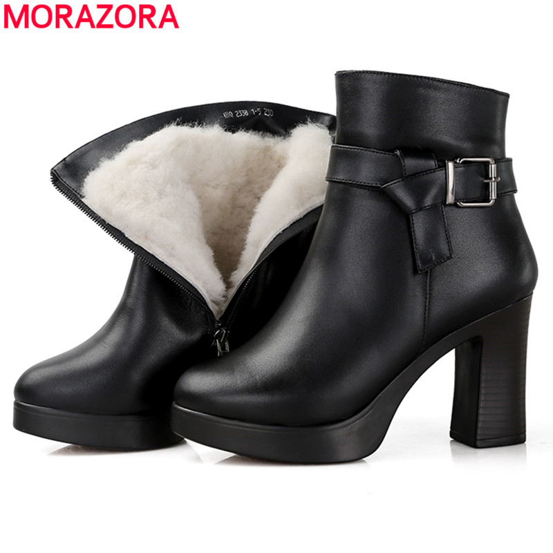 MORAZORA 2018 natural wool thick fur boots woman genuine leather boots high heels platform boots winter ankle boots women MORAZORA 2018 natural wool thick fur boots woman genuine leather boots high heels platform boots winter ankle boots women