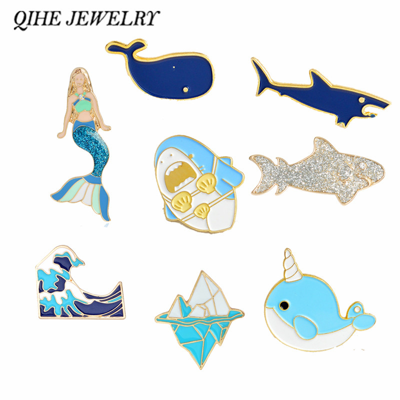 QIHE JEWELRY Sea Cuties Pins Collection <font><b>Whale</b></font> Shark Dolphin Ocean Animals Lapel Pins Beach Summer Blue Badges Brooches for Kids image