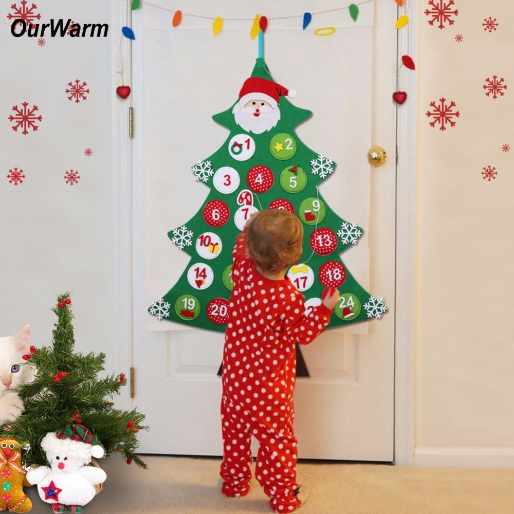 1a2e0f0d8718 OurWarm Christmas Tree Advent Calendar New Year Gift Felt Countdown  Calendar New Year s Products Christmas Decorations