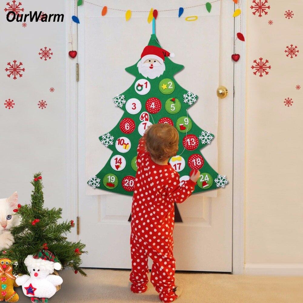 Felt Christmas Tree Advent Calendar: OurWarm Christmas Tree Advent Calendar New Year Gift Felt