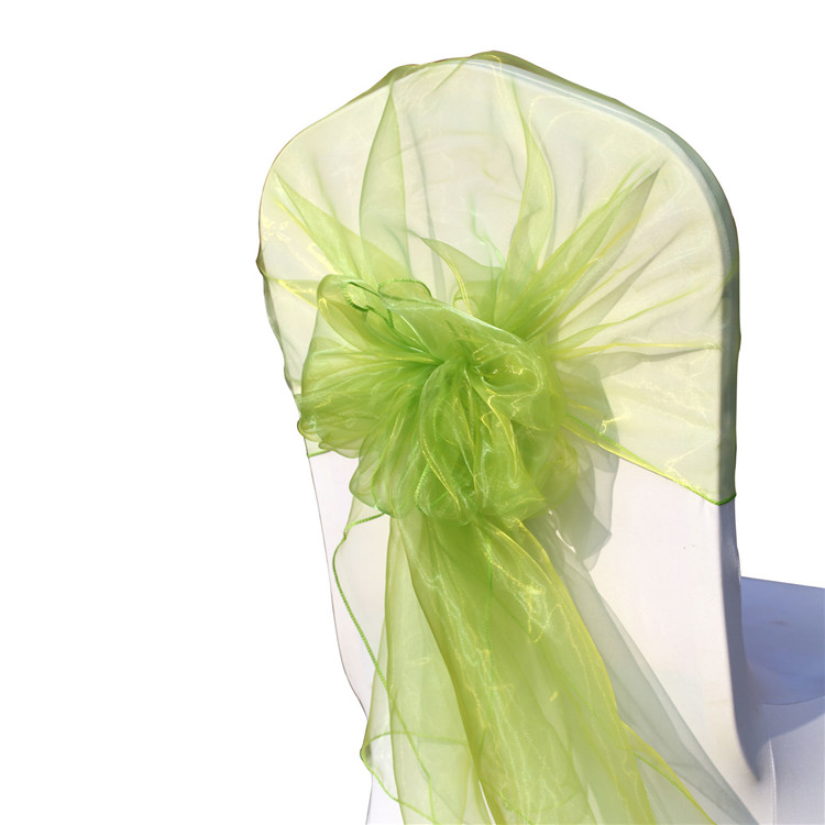 2015 Big Discount !!!! 100pcs Apple Green Organza Hood Sashes for Chair Organza Chair Hood Wrap for Wedding FREE SHIPPING