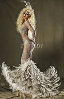 Блестящие жемчуг перо хвост платье модное вечернее роскошный праздновать длинное платье Женский День рождения сетки перспектива платье