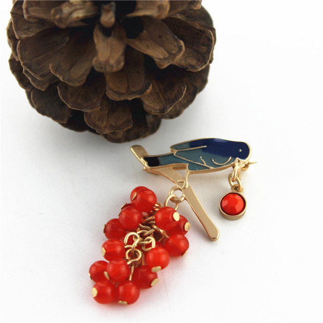 Bird With Red Grapes Brooch