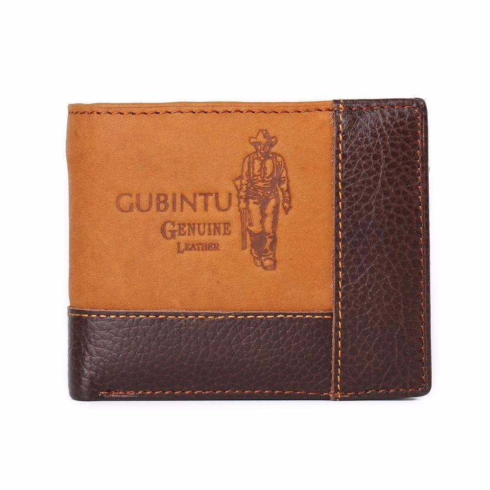 2017 Vintage Men Genuine Cow Leather Wallet Short Designer Card Holder Pocket Fashion Male Carteras Coin Purses Wallets for Men