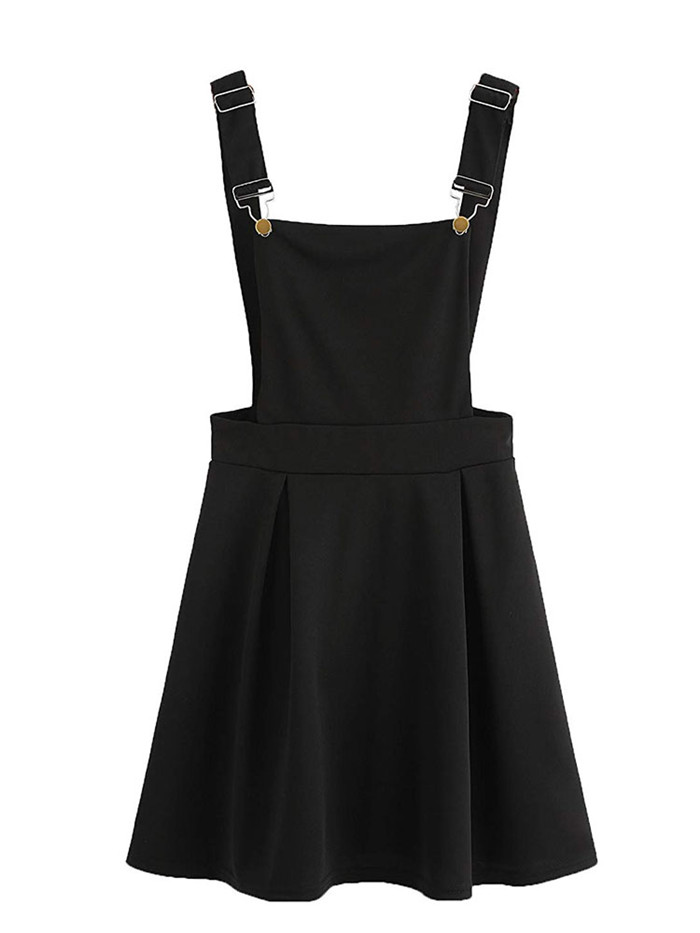HTB1fSDSbgFY.1VjSZFqq6ydbXXaD Summer Women Mini Party Dress 2019 Casual Sleeveless Zip Up Back Pinafore Dress Autumn Black Pleated Overall Dress Plus Size