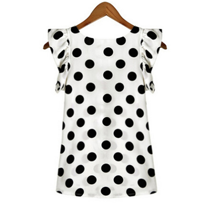 2018 Hot Sales New Summer Womens Ladies Chiffon Blouse Puffed Short Sleeve Dot Print Top Blusa Plus Size XXL Black White 1